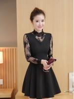ชุดเดรสสีดำ ชุดสีดำ ตัวเสื้อผ้าคอตตอนผสมโพลีเอสเตอร์เนื้อดีมากสีดำ