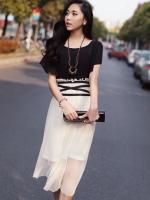 MAXI DRESS ชุดเดรสยาวแฟชั่นแขนสั้น ใส่ทำงาน ใส่เที่ยว ตัวเสื้อสีดำ กระโปรงสีขาวครีมผ้ามุ้ง สม็อกเอว ใส่ออกงาน น่ารัก สวยมากๆ ครับ thaishoponline (พร้อมส่ง)