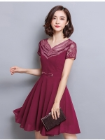 ชุดเดรสสั้น ผ้าชีฟองเนื้อดี สีแดงเลือดหมู คอเสื้อสวยมากๆ