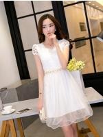ชุดเดรสสวยๆ ใส่ออกงาน ตัวเสื้อผ้าถักลายดอกไม้ สีขาว แขนสั้น