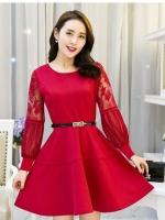 ชุดเดรสสวยๆ ผ้าคอตตอนผสม spandex เนื้อนุ่ม สีแดง แขนยาว