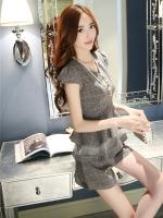 แฟชั่นเกาหลี set เสื้อ และกางเกง สีเทา พร้อมสร้อยคอสุดสวย