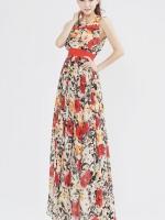 ชุดเดรสยาว Brand Luomeidisha  ชุดเดรสแขนกุด ผ้าชีฟองเนื้อดี ลายดอกไม้สีแดง พร้อมผ้าผูกเอวและกระโปรงยาว (พร้อมส่ง)