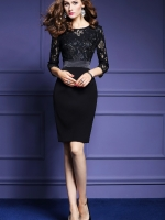 ชุดเดรสสีดำ ตัวเสื้อผ้าลูกไม้เนื้อดี นิ่ม แขนยาว หน้าอกเสื้อแต่งด้วยดิ้นสีดำ