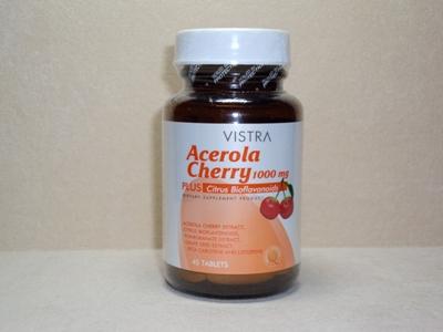 Vistra Acerola Cherry Vitamin C 1000 mg 45 แคปซูล เสริมภูมิคุ้มกัน ลดอาการภูมิแพ้ สังเคราะห์คอลลาเจน บำรุงผิว