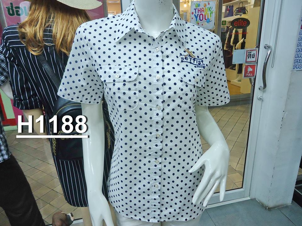 ( H 1188 ) เสื้อเชิ้ตหญิงแขนสั้น