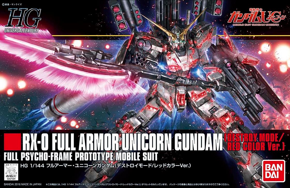 HGUC 1/144 Full Armor Unicorn Gundam [Destroy Mode / Red Color Ver.]
