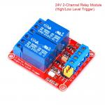 24V 2-Channel Relay High/Low Level Trigger Relay Module (Red PCB)