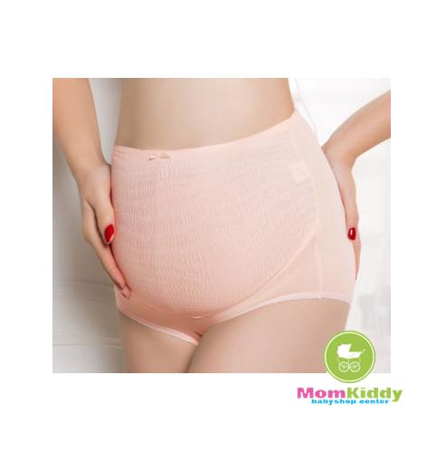กางเกงในคนท้องลายผ้าย่นยืดหยุ่น สีโอรส