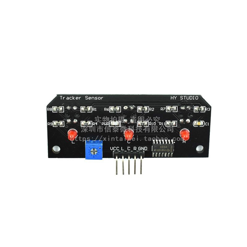 3-Way Infrared Line Tracking Module with TCRT5000 Sensor (Black PCB)
