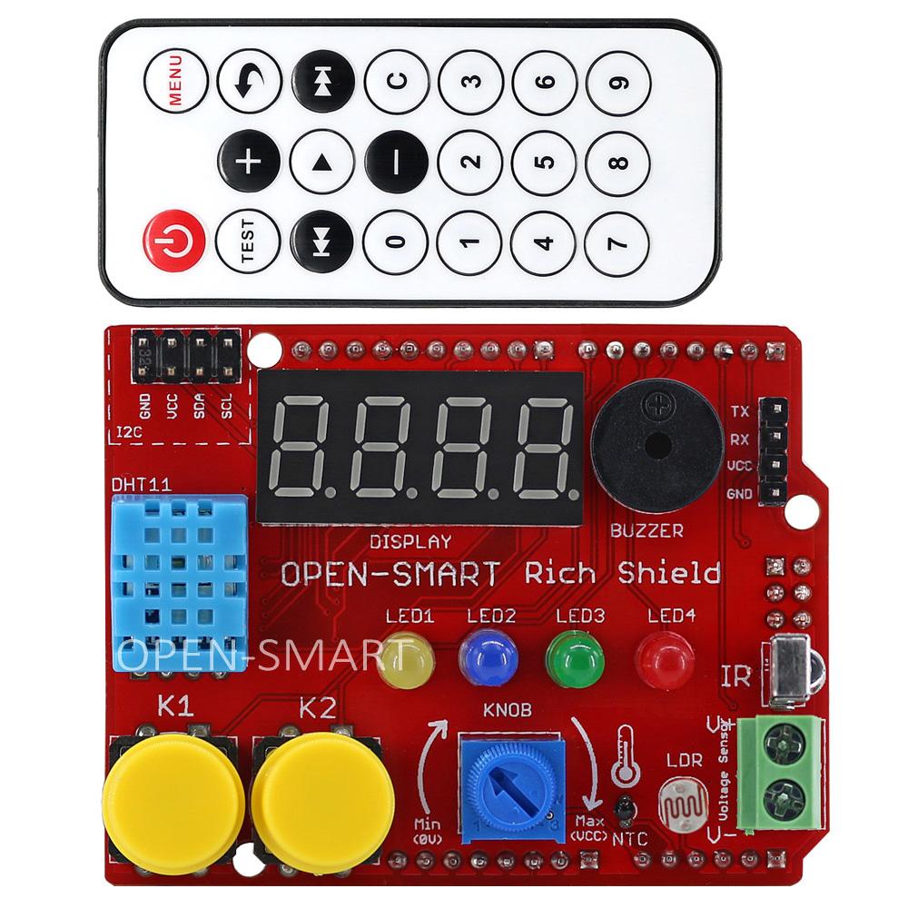 OPEN-SMART Rich Shield (Remote IR Control with receiver, LED, Buzzer, Buttons, Light Sensor, Temperature Sensor)