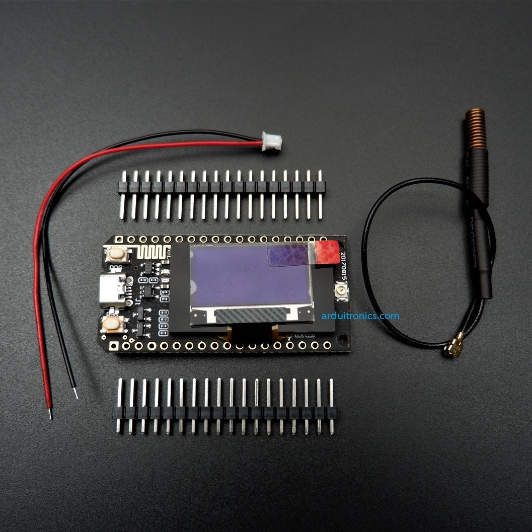 "LoRa 433MHz SX1278 + WiFi ESP32 + OLED 0.96"" - พร้อมสายอากาศ"