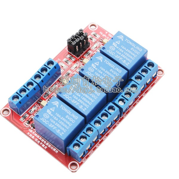 5V 4 Channel Relay High/Low Level Trigger Relay Module (Red PCB)