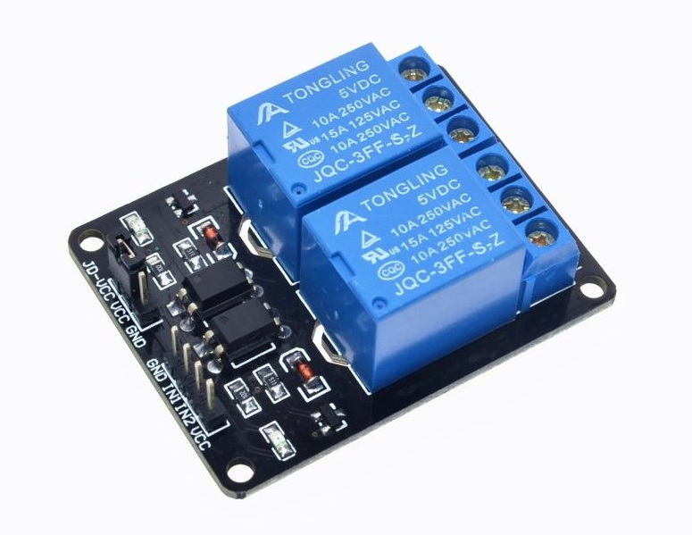 2 Channel Relay (Opto-Isolated) - Active Low 5V 10A (หัวรีเลย์ ยี่ห้อ TongLing รุ่น JCQ-3FF-S-Z)