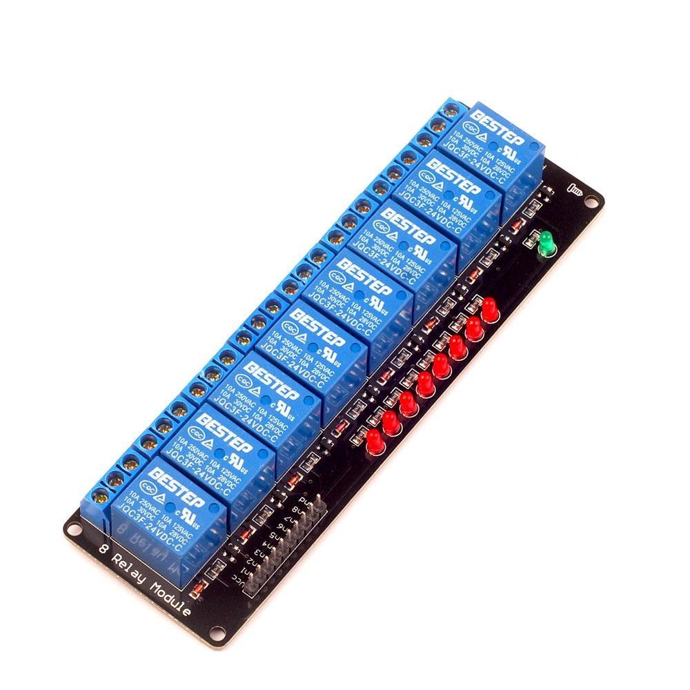 8 Channel Relay 24V 10A (Optocoupler) with LED (คละยี่ห้อของหัวรีเลย์)