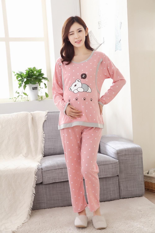 ชุดนอนชุดนอนคนท้อง เสื้อและกางเกงแขนขายาวลายจุด รูปหมี เปิดให้นมได้ - PJ17017