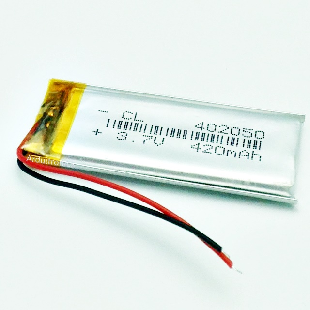3.7V 420mAh Lithium Battery Rechargeable Polymer (LiPo)