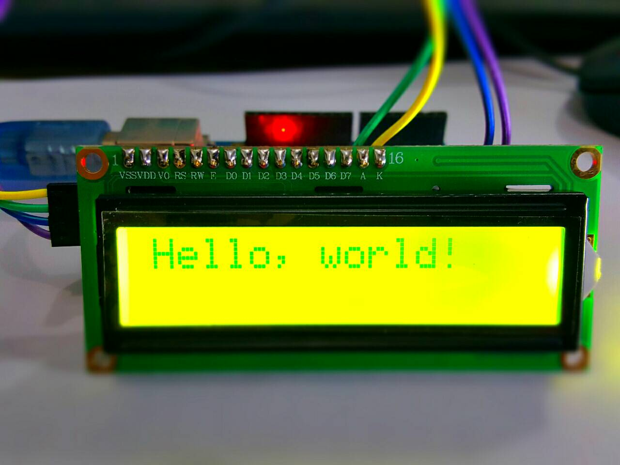 1602 Module 16x2 LCD Display + I2C Interface (Green-Yellow Screen)