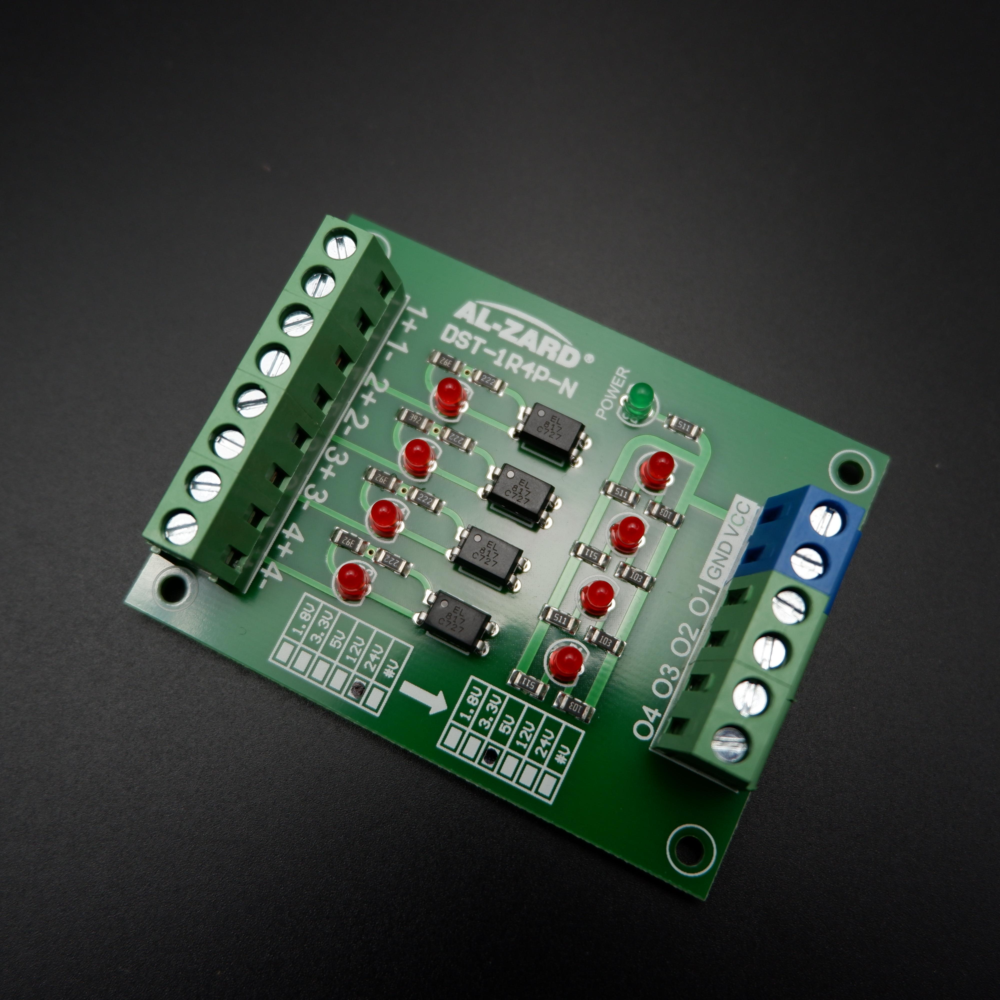 4-Way Optocoupler Isolation Board PLC Signal Level Voltage Conversion Board (24V to 5V)
