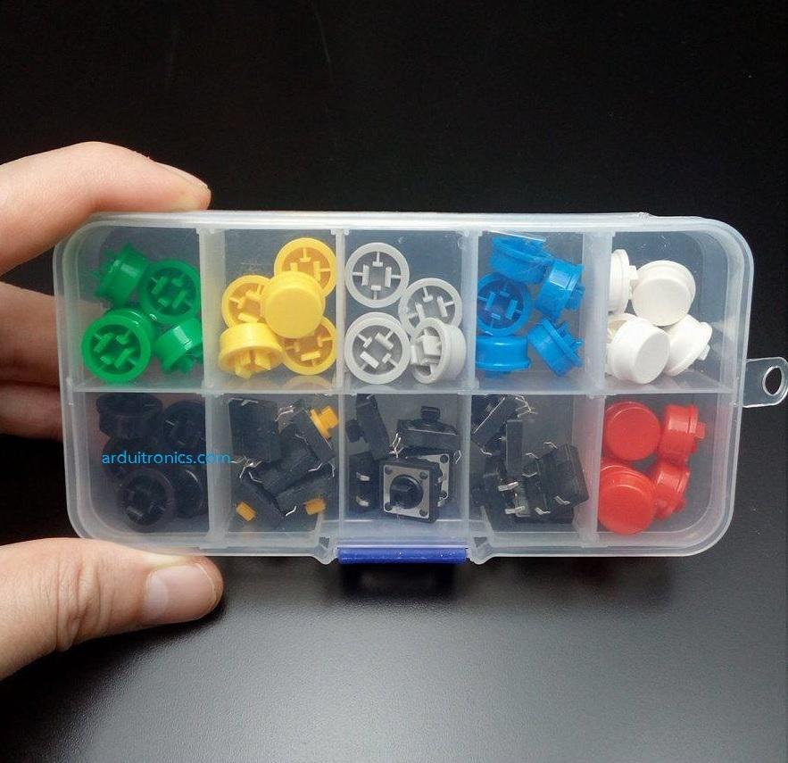 B3F-4055 Key Touch Switch (12x12x7.3mm) with A24 Button Cap (มาพร้อมกล่องพลาสติกใส)