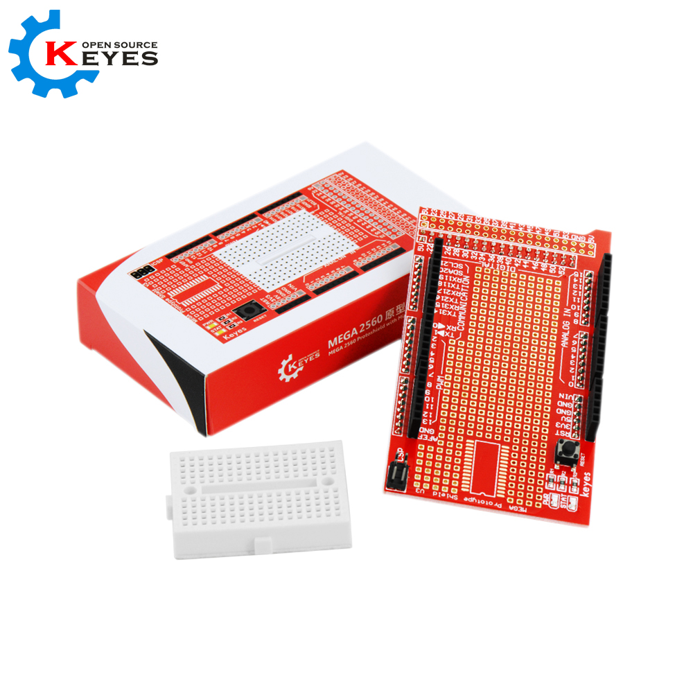 Mega Prototype Shield + Free Mini Breadboard PCB สีแดง (ยี่ห้อ Keyes)