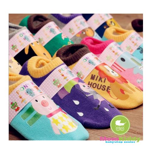 ถุงเท้าเด็กข้อสั้นสไตล์เกาหลี สกรีนลายการ์ตูน มีพื้นกันลื่น ขนาด 2-4 ปี