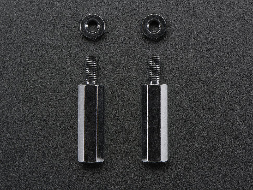 Brass M2.5 Standoffs 16mm tall - Black Plated - Pack of 2 (Adafruit)
