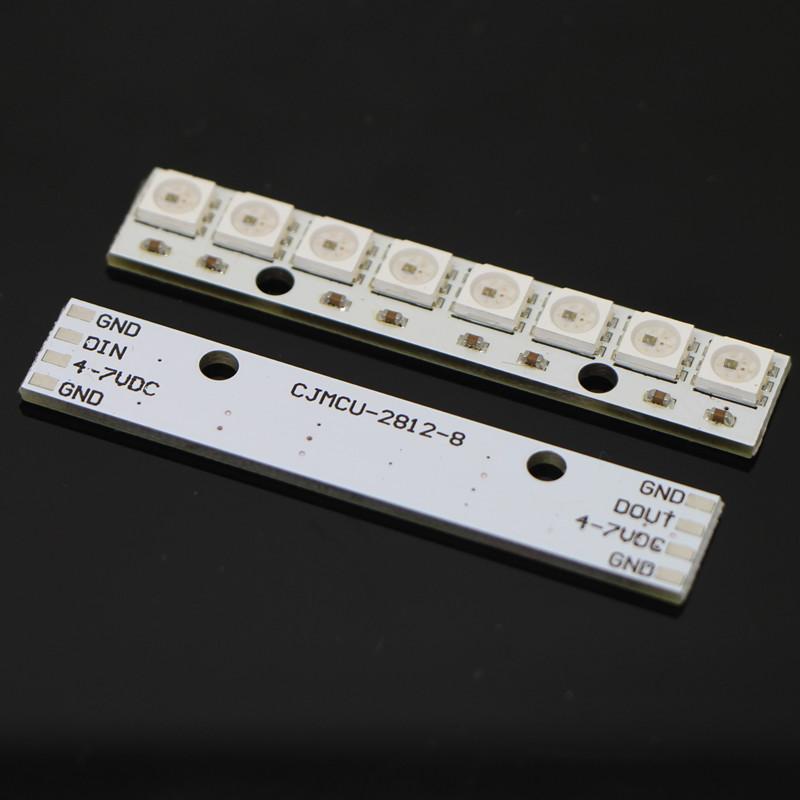 NeoPixel Bar 8 WS2812 RGB LED White PCB