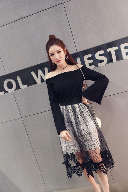 ชุดสีดำ set เสื้อและกระโปรงสวยเก๋