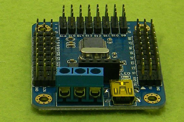 Mini USB 16-Way Steering Servo Motor Controller Board