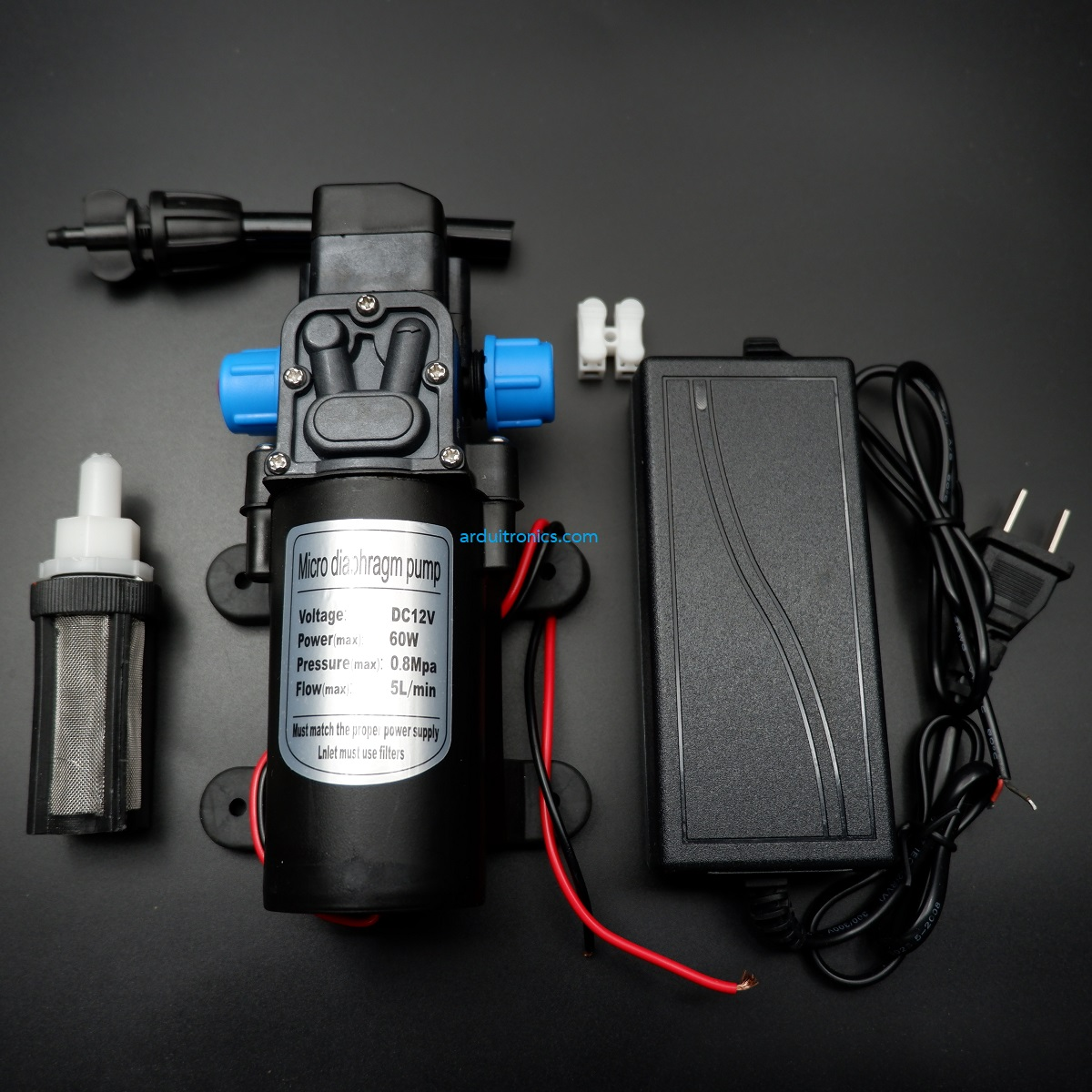 Diaphragm Pump 60Watt 12VDC (5L/min) with Filter and Power Adapter - ไดอะแฟรมปั๊มน้ำมาพร้อมฟิลเตอร์และอะแดปเตอร์แปลงไฟ