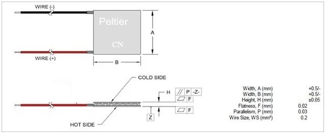 TEC1-12706 12V 6A Thermoelectric Peltier Cooler