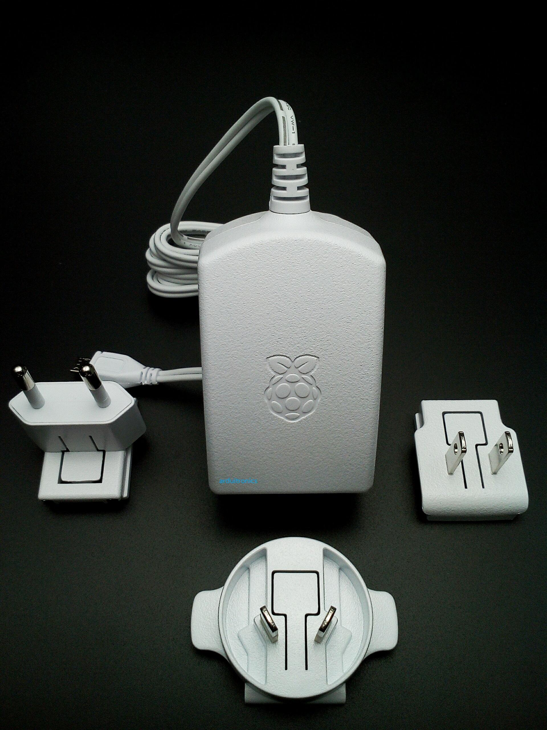 Official Power Supply (5.1V, 2.5A) for Raspberry Pi (สีขาว มีโลโก้ Pi สลักบนหัวปลั๊ก) + 4 Multi-national Heads