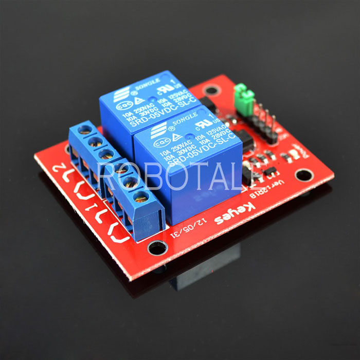2 Channel Relay (Opto-Isolated) รีเลย์ 2 ช่อง (red PCB)
