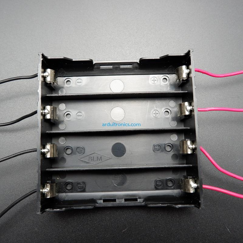 รางถ่าน 18650 จำนวน 4 ก้อน แบบแยกอิสระ จ่ายไฟได้ 3.7V ต่อก้อน