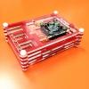 Raspberry Pi 3 Transparent Case สีแดง (Acrylic 9 Layer มีช่องสำหรับ Heat Sink Fan และ GPIO)