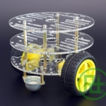 2WD Smart Car Chassis (3 ชั้น ล้อทรงกลม) มาพร้อม Motor และ Speed Encoder