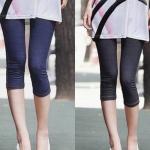 กางเกงเลคกิ้งคนท้องขา 3 ส่วน ผ้ายีนส์ยืดนิ่ม ใส่สบาย ปรับสายที่เอวได้ - LG1705