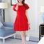 ชุดเดรสชีฟอง ชนิดหนา สีแดง ผ้านิ่มสวย ทิ้งตัวได้ดี คอระบาย thumbnail 2