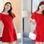 ชุดเดรสชีฟอง ชนิดหนา สีแดง ผ้านิ่มสวย ทิ้งตัวได้ดี คอระบาย thumbnail 7