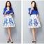 แฟชั่นเกาหลี set เสื้อและกระโปรง สีน้ำเงิน thumbnail 6