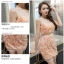 ชุดเดรสสวยๆ ตัวเสื้อผ้ารูปดอกกุหลาบสามมิติ ลายนูนออกมาจากตัวชุดสีโอรส thumbnail 6