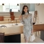 เสื้อผ้าเกาหลี Set 2 ชิ้น เสื้อ และกระโปรงผ้าลูกไม้เนื้อนิ่มสีฟ้าอมเขียวสวยมากๆ thumbnail 1