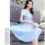 ชุดเดรสชีฟอง ผ้าเนื้อดีสีฟ้า คอเสื้อสวยมาก เป็นผ้าถักเย็บสลับกับผ้าโปร่ง thumbnail 5