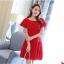 ชุดเดรสชีฟอง ชนิดหนา สีแดง ผ้านิ่มสวย ทิ้งตัวได้ดี คอระบาย thumbnail 1