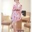 fashion ชุดทำงาน ชุดเดรสทำงาน แฟชั่นเกาหลี ลายดอกไม้ สีแดง ผ้าชีฟอง แถมเข็มขัดสีน้ำตาล (พร้อมส่ง) thumbnail 2