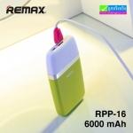 REMAX RPP-16 แบตสำรอง Power bank 6000 mAh ลดเหลือ 365 บาท ปกติ 930 บาท