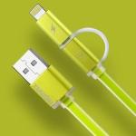 สายชาร์จ remax aurora High Speed 2 หัว iPhone&Android สีเขียว