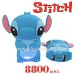 Power Bank แบตสำรอง Stitch 8800 mAh ผิวยางด้าน สีน้ำเงิน