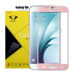 ฟิล์มกระจกนิรภัย Samsung S6 เต็มจอ ยี่ห้อ Diamond สีชมพู